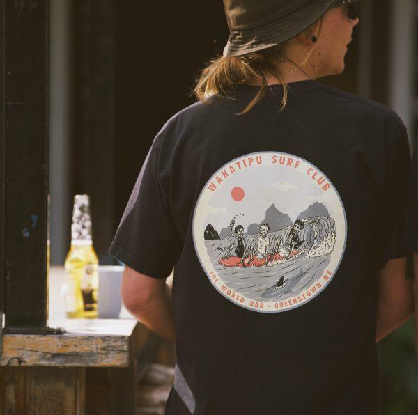 The World Bar Wakatipu surf club shirt